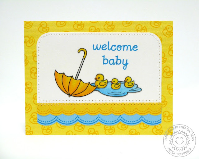 Sunny Studio Stamps Welcom Baby Card (using Sweet Script, Sunny Borders & Rain or Shine)