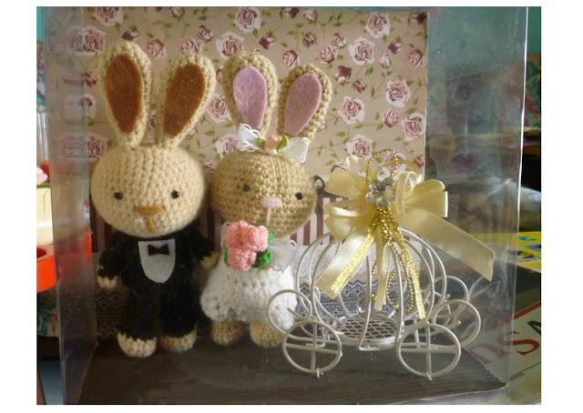 Crochet wedding dolls animal bunny cute pattern idea gift