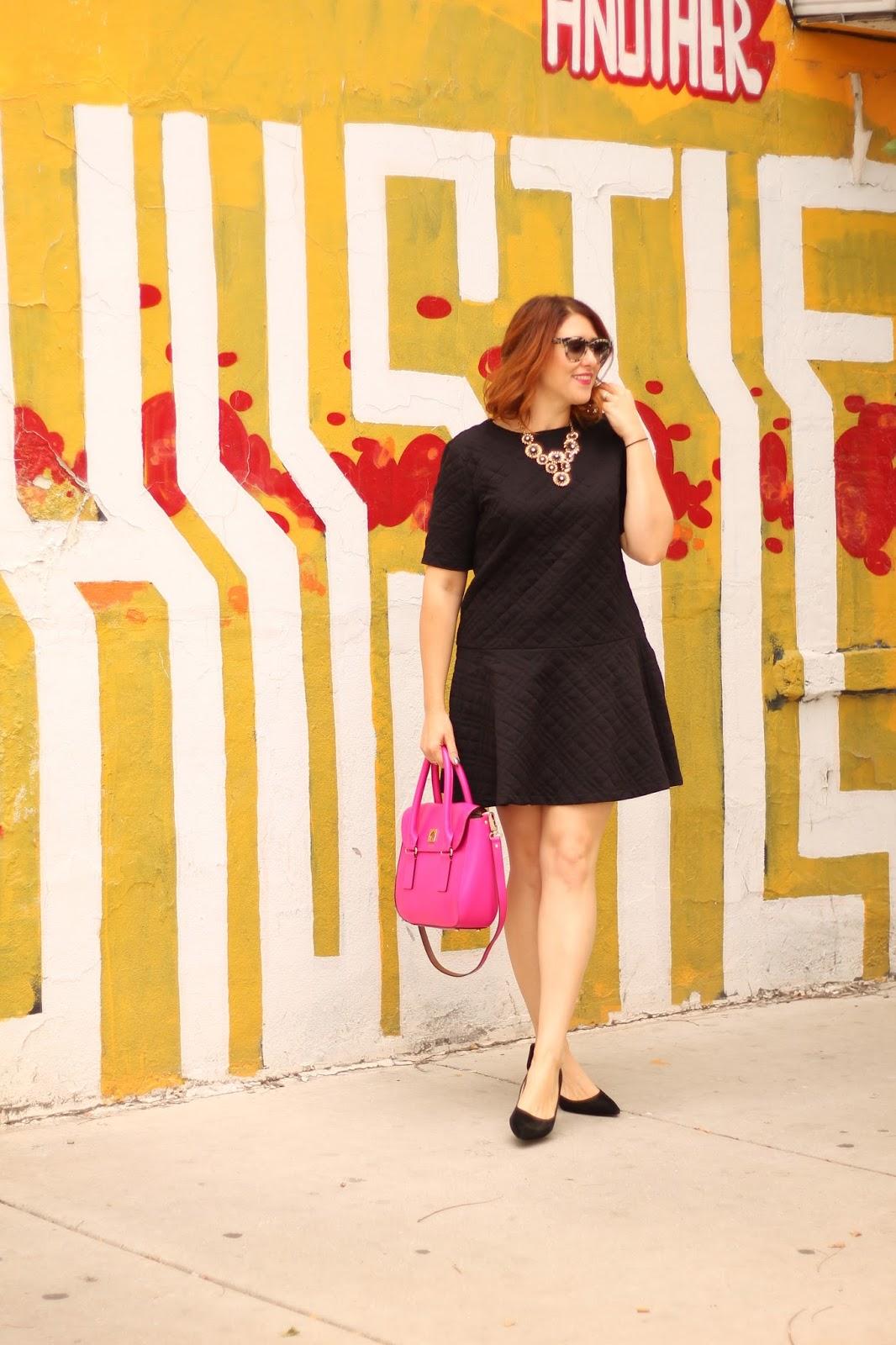 loft, quilted, flippy, dress, black