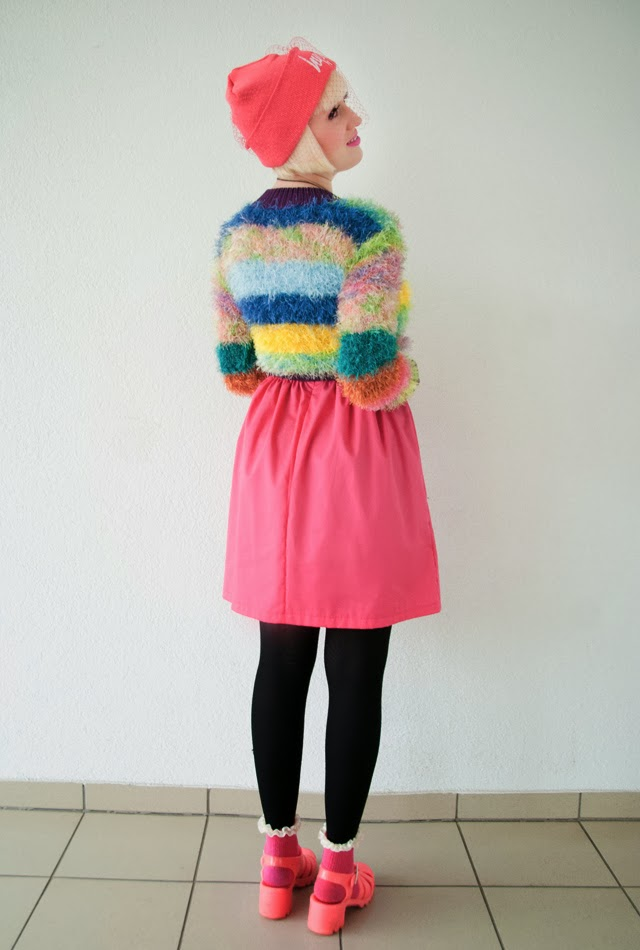 rainbow colored outfit, unif furby jumper, colorful fluffy jumper, katy perry