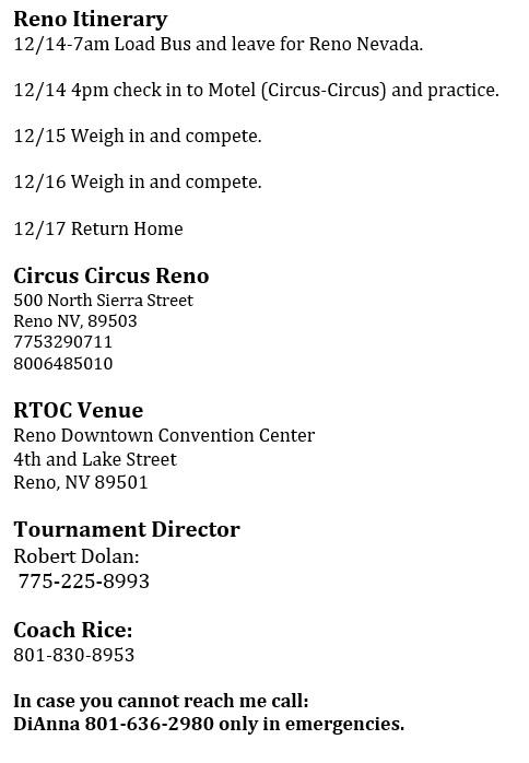 Reno Tournament of Champions - Varsity Team
