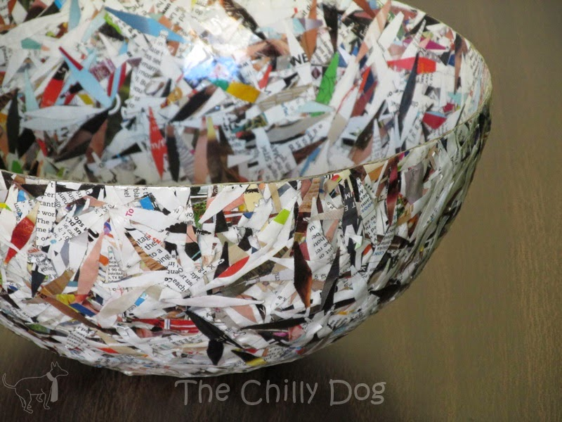 How to make a paper mache bowl with Mod Podge and recycled magazine paper