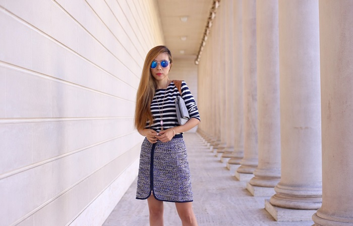 J Crew Stripe top, J crew metallic zipper skirt, kendra scott necklace, kendra scott bracelet, gigi new york carly convertible clutch, schutz heels, mirrored sunglasses, work attire, fashion blog, san francisco, nyc blogger
