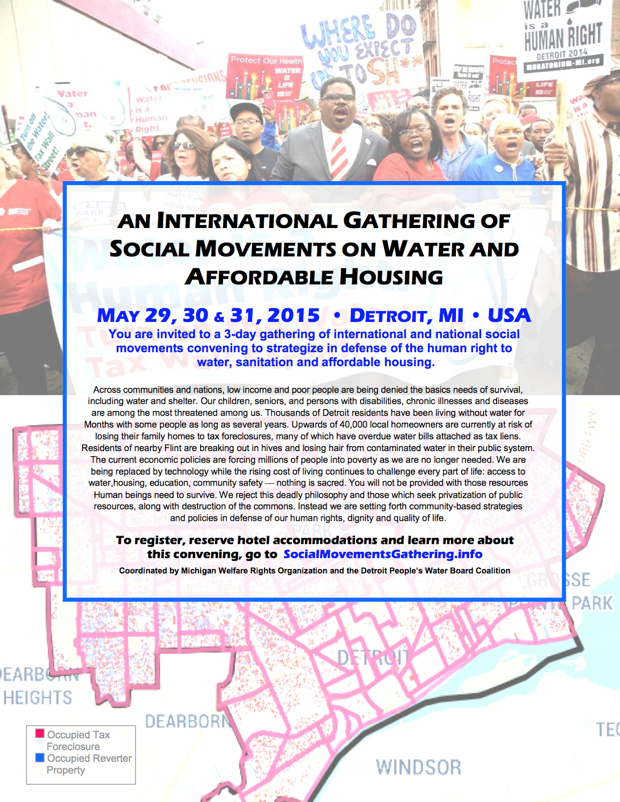 Flyer for water and housing gathering in Detroit