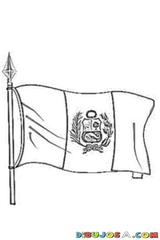 La Bandera De Peru Para Colorear