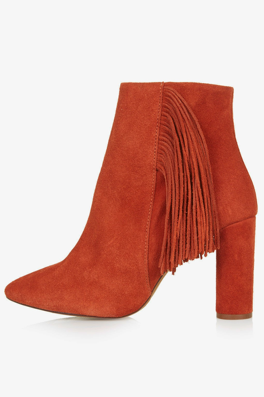 topshop tassel ankle boots, topshop orange ankle boots, orange suede boot,