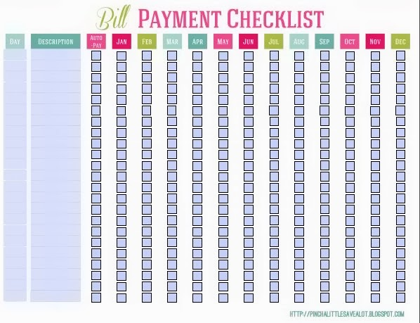 Bill Payment Checklist Related Keywords & Suggestions - Bill Payment ...