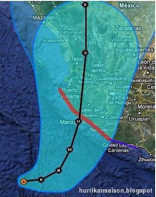 Hurrikan JOVA jetzt Kategorie 2 - Hurrikanwarnung in Jalisco, Mexiko, aktiviert, 2011, aktuell, Hurrikansaison 2011, Hurrikanwarnung, Jalisco, Jova, Manzanillo, Mexiko, Nayarit, Oktober, Puerto Vallarta, Sturmwarnung, Touristen, Verlauf, Vorhersage Forecast Prognose