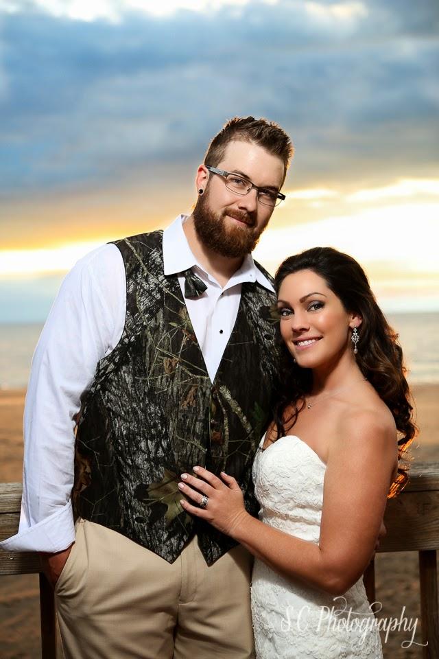 Just married beach sunset photo