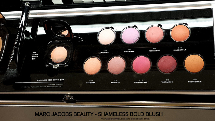 Marc Jacobs Beauty - Shameless Bold Blush - Photos Swatches - 210 Irresistible - 216 Rebellious - 212 Outspoken - 202 Naughty