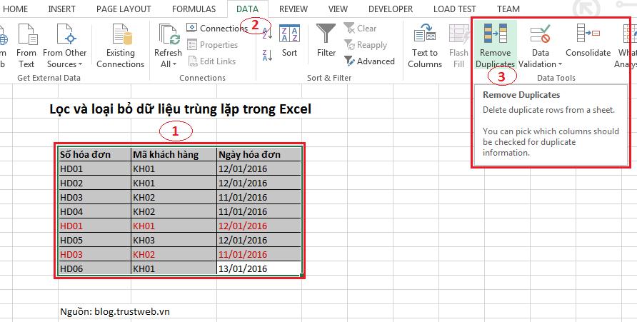 Lọc và loại bỏ dữ liệu trùng lặp trong Excel (2)