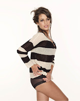Lea Michele wearing striped sweater and panties