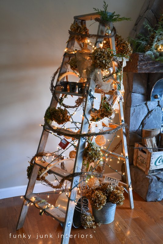 Treeless ladder Christmas tree via Funky Junk Interiors - Christmas ...