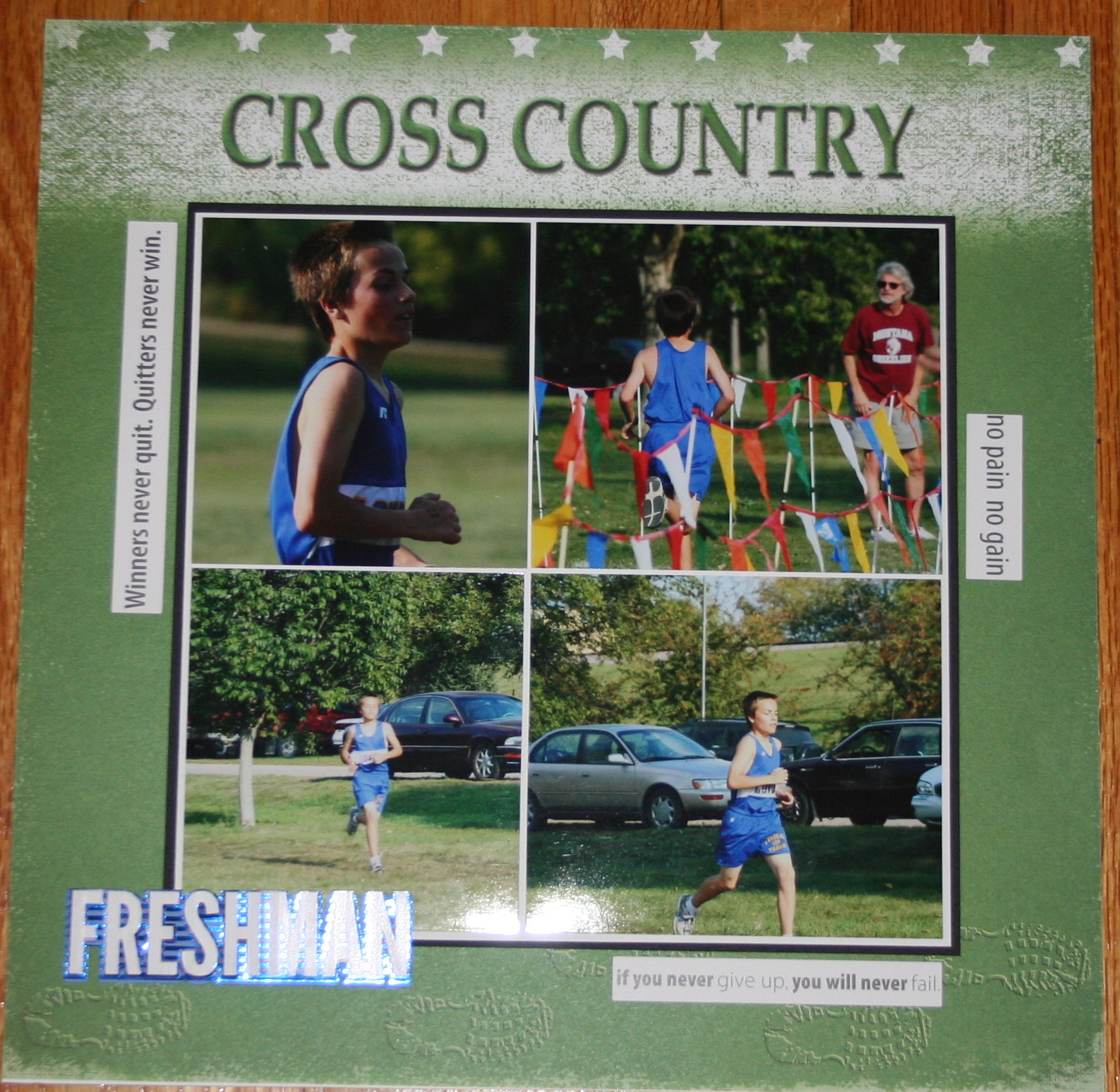 Running scrapbook ideas - There Are Very Few Papers And Embellishments Out There For Running Sports He Does Track And Cross Country I Ve Managed To Find Some Paper And Used Sports