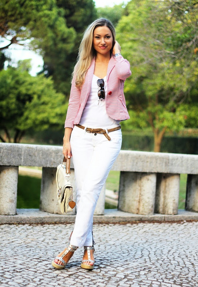 look do dia, ootd, outfit, look of the day, branco total, all white, riscas horizontais, blazer com riscas, striped blazer, prateado, camel, guess, salsa, new yorker, top e jeans, calvin klein watch, primavera verão 2014, dicas de imagem pessoal, consultoria de imagem, style statement, harmonia monocromática, alongar a silhueta, blog de moda, blogue de moda, blog de moda portugal, blogues de moda portugueses