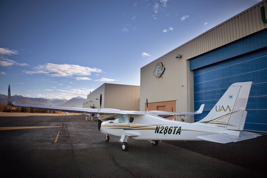 Shipped from Italy, assembled in Florida and painted in Richmond, UAA's new P2006T twin-engine trainer is now safe at home in the Seawolf hangar. (Photo by Philip Hall/University of Alaska Anchorage)