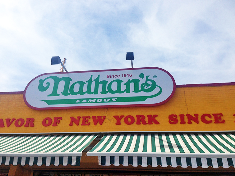 Nathan's Famous hot dogs, Coney Island, Brooklyn, New York
