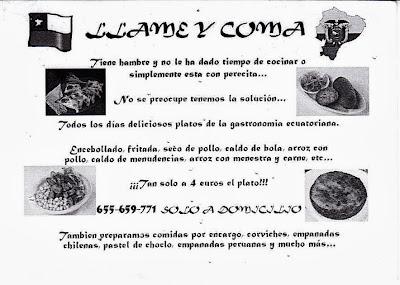 Llame y Coma, comida ecuatoriana a domicilio en Getafe