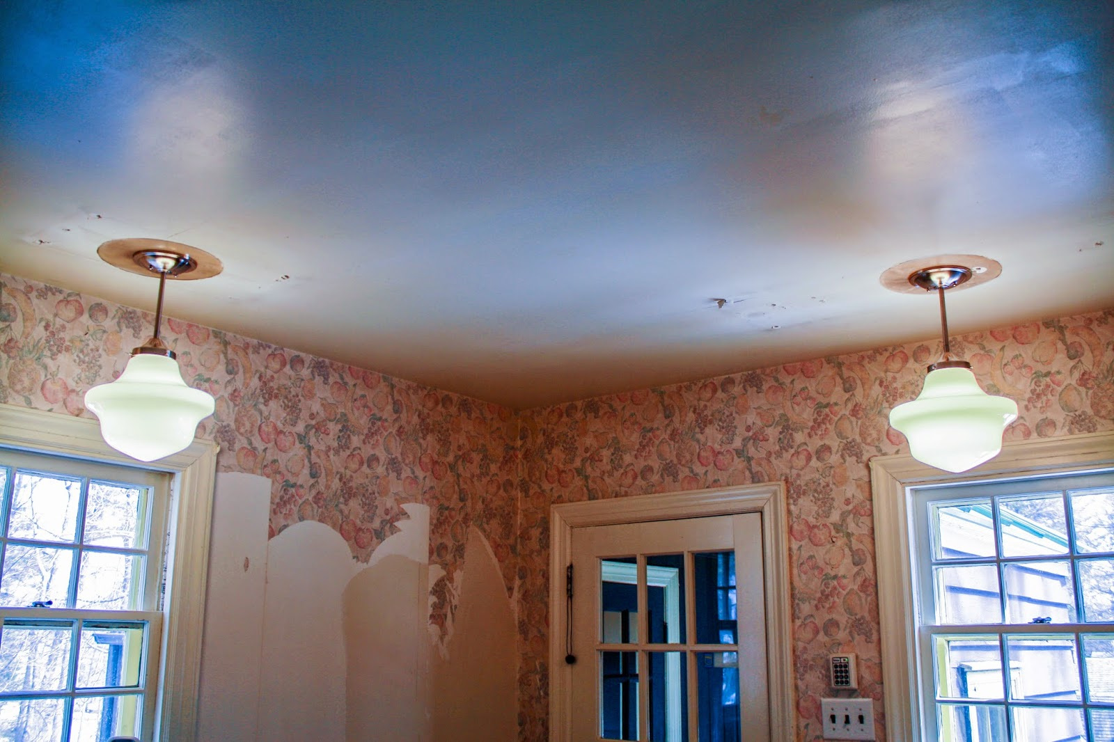 kitchen renovation - wallpaper removal - light fixture replacement