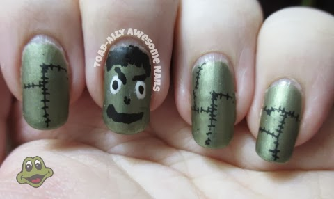 halloween.frankenstein.nails.finger.paints.be.leaf.it.or.not.kleancolor.black.white.vivid.lacquer.vl003