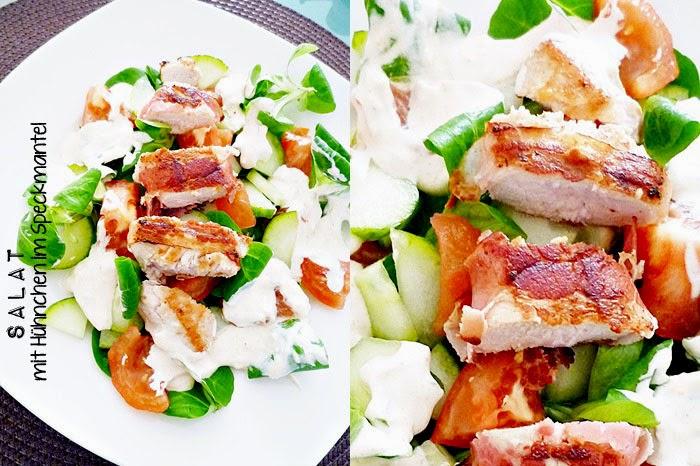 Salat mit Hühnchen im Speckmantel