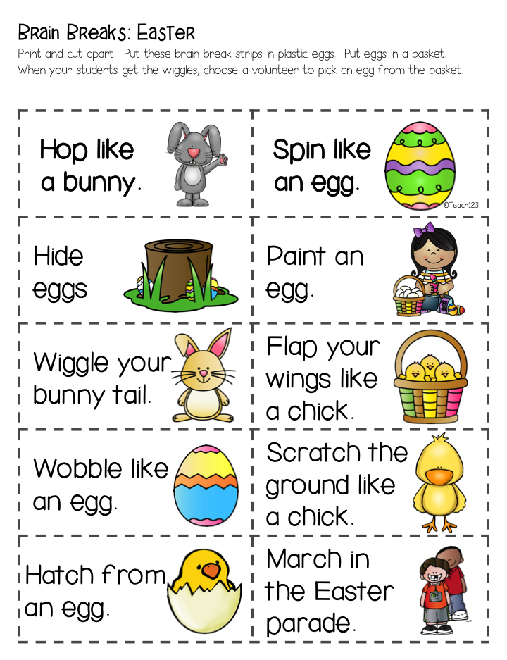 Brain Breaks with an Easter Twist - Teach123