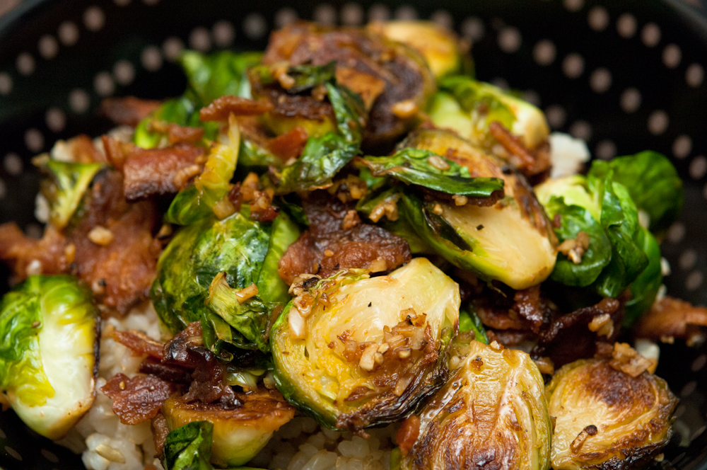 SNACK THE PLANET: Brussel Sprouts with Bacon