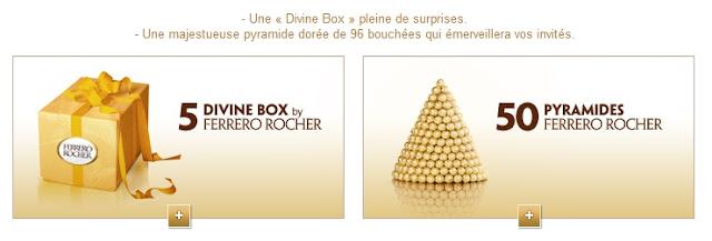"""50 pyramides de 96 Ferrero Rochers + 5 coffrets cadeaux """"Divine box"""" à gagner"""