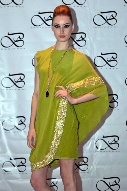 Green dress by Singapore based Iranian designer Bahareh Badiei