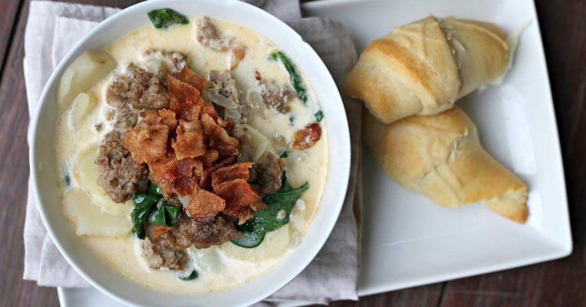 Carolina Charm Creamy Zuppa Toscana Soup Olive Garden Copycat Cheesy Rosemary Crescents