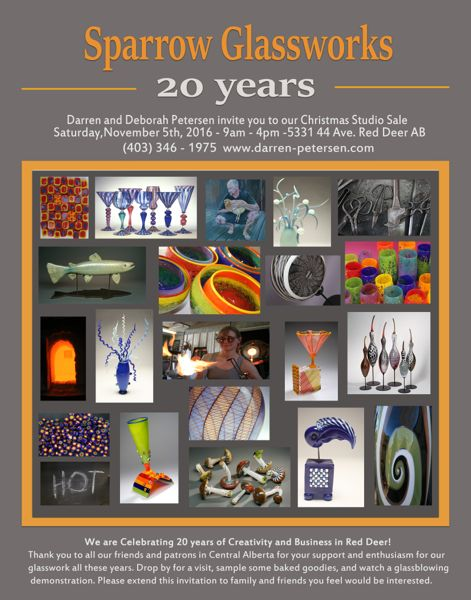 Sparrow Glassworks is Celebrating 20 years. Hope to see you Saturday, November 5th