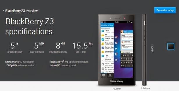 BlackBerry Z3 Kini Lebih Mahal Dibanderol Rp 2.6 Jutaan