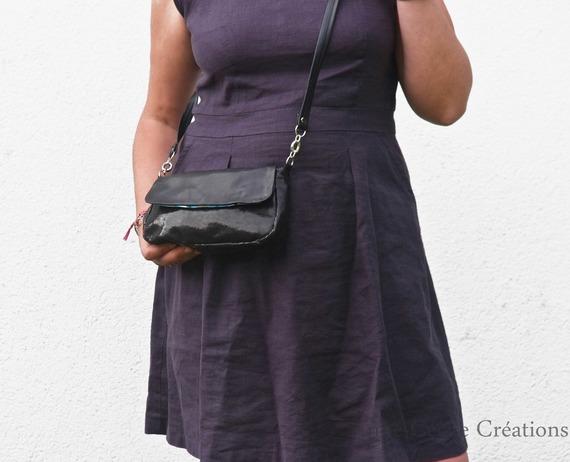 sac à main cuir noir brillant etsy