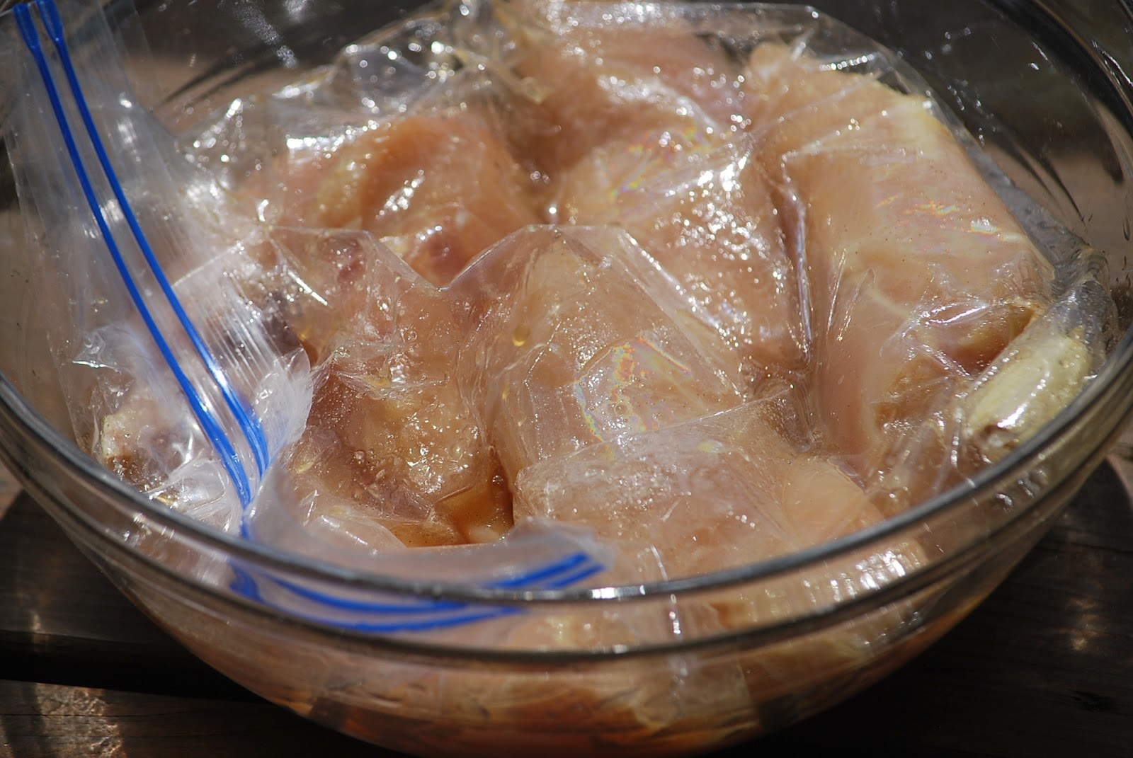... garlic, ½ t. salt and pepper in Ziploc bag. Add chicken to marinate