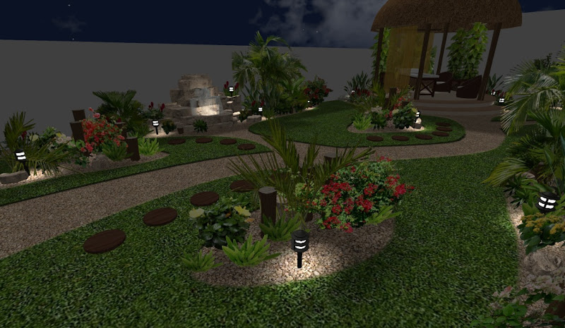 diseño de jardin con fuente iluminado de noche - arreglos de madera y luces estacas solares