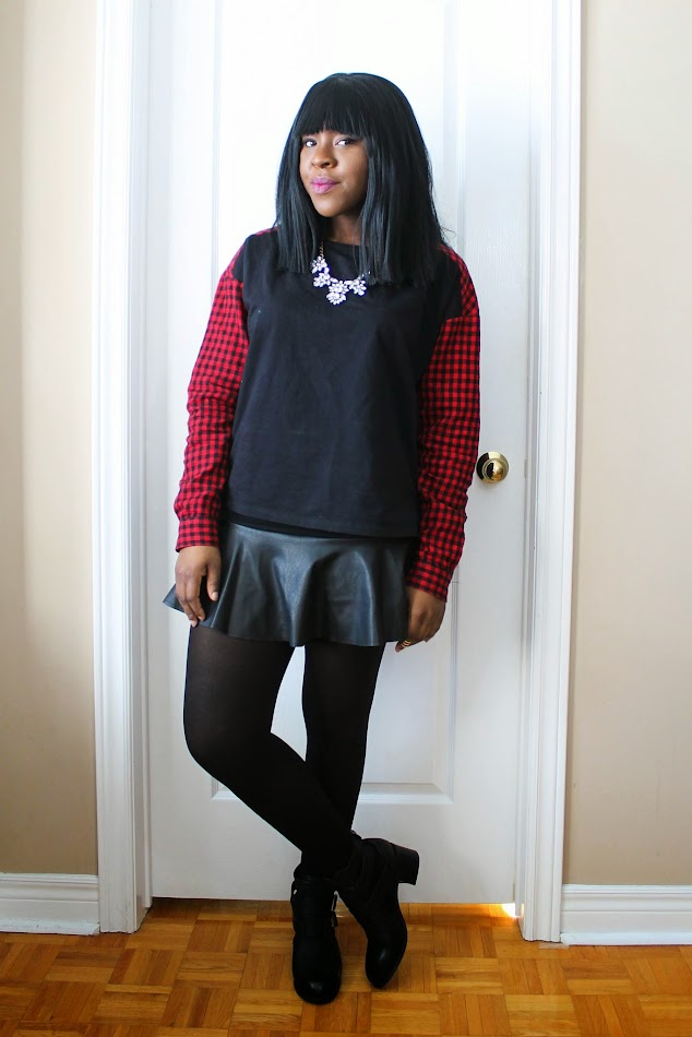tartan, leather skirt, cut out boots