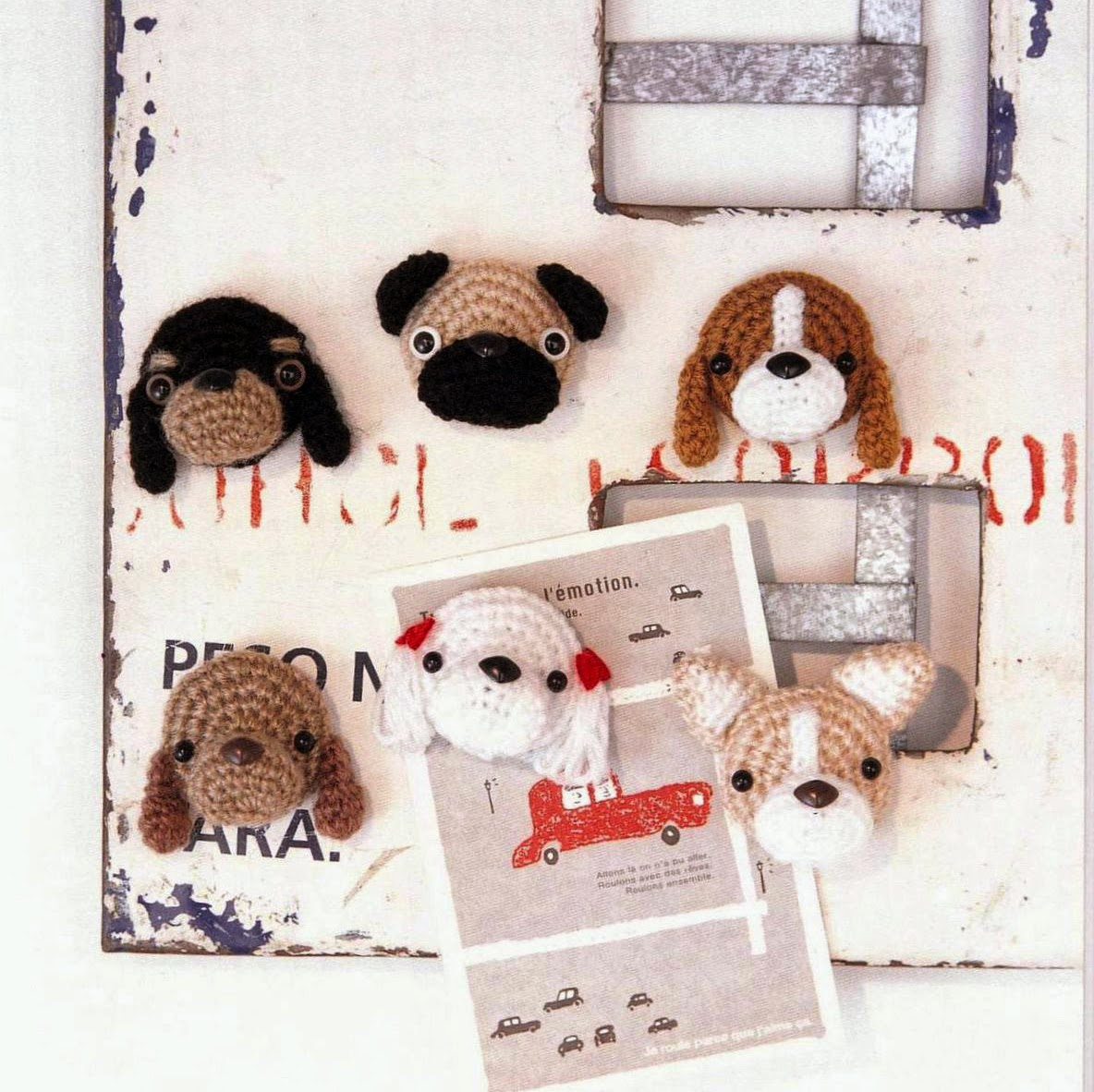 Amigurumi Dog Knitting Patterns : Free Japanese Craft Patterns: Amigurumi Dog Magnets Free ...