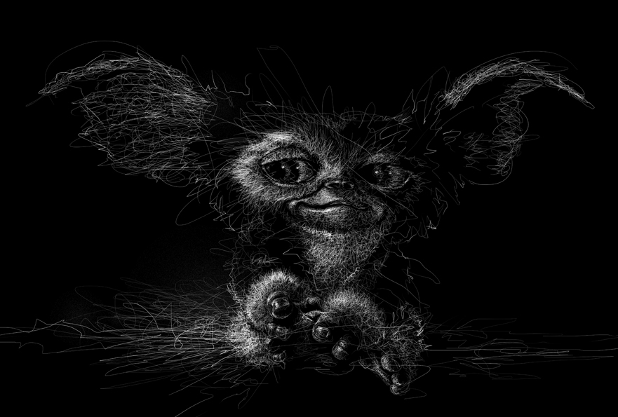 10-Gremlins-Gizmo-Mogwai-Vince-Low-Scribble-Drawing-Portraits-Super-Heroes-and-More-www-designstack-co