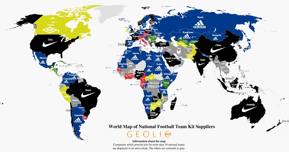 World Map of National Football Team Kit Suppliers Footy Headlines