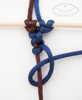 Węzeł frywolitkowy - makrama - 9