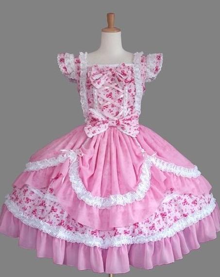 Pink Lace Printed Sweet Lolita Dress