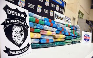 Ação conjunta resulta nas apreensões de 50 kg de drogas em embarcação vinda de Tefé