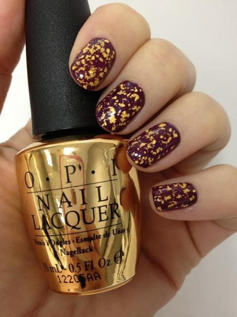 Gold leaf nail polish