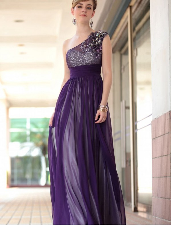 Beaded One-Shoulder Sheath Dress with Sequined Bodice