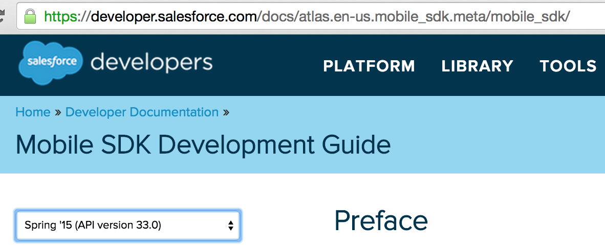 Link to Salesforce Mobile Developer Guide