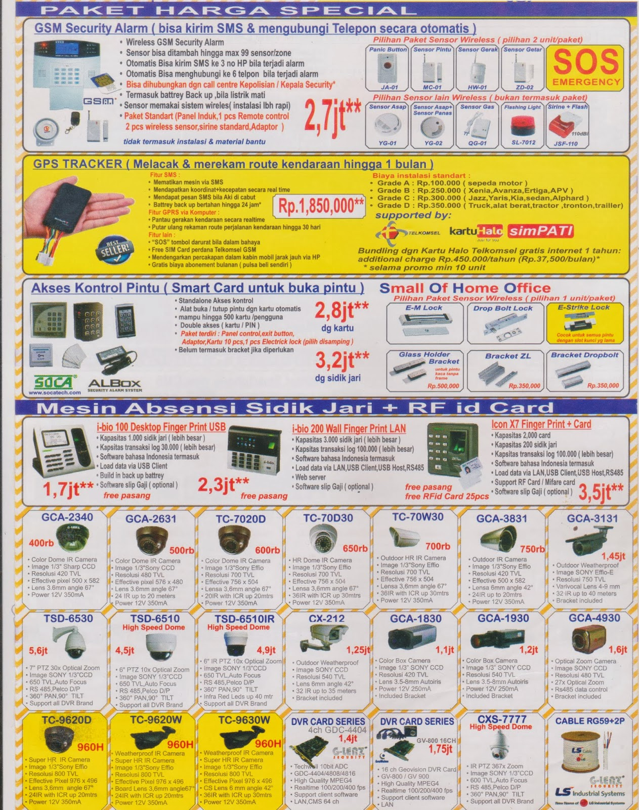 Daftar harga Baru Paket CCTV G-lenz ip camera Cloud Suport Modem GSM