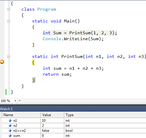 breakpoint and watch window in visual studio