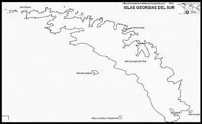 ISLAS GEORGIAS DEL SUR , Antartida, OpenStreetMap, blanco y negro