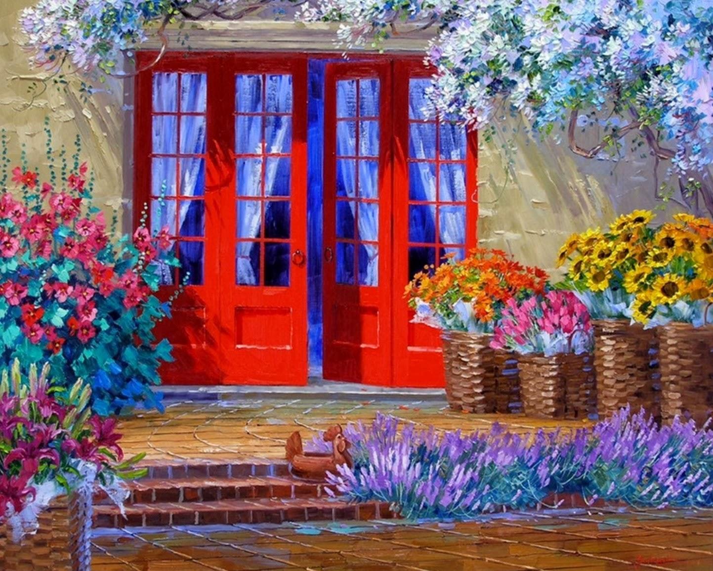 Cuadros modernos pinturas y dibujos pintura de flores al for Cuadros al oleo modernos