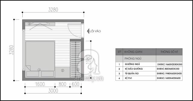 Bài trí nội thất đẹp lung linh cho phòng ngủ chung cư mini